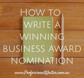 Business awards, write a winning business award entry, business awards writer, help to win business award, how to write a winning business award nomination