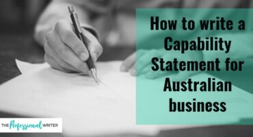 Australian capabilty statements, how to write a capability statement, professional writer